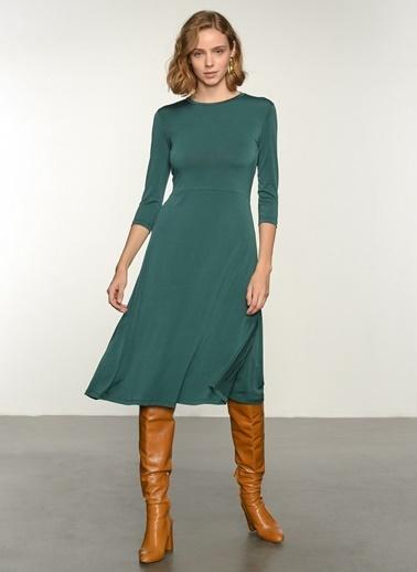 NGSTYLE Ngkss21El0008 Büzgü Detaylı Elbise Yeşil